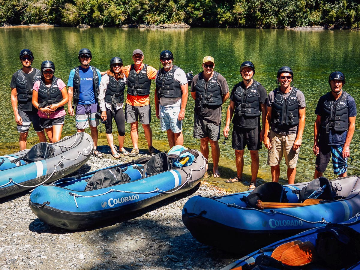 Kayak group at the Pelorus river, Havelock