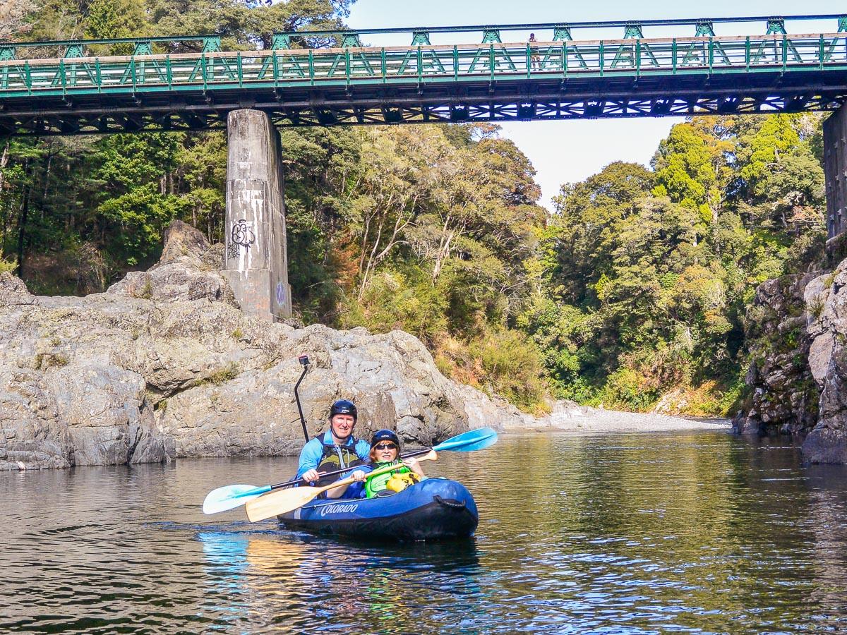 Couple kayaking at the Pelorus river, Havelock