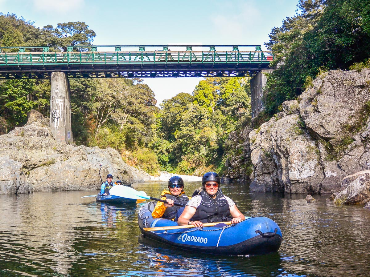 Friends kayaking at the Pelorus river, Havelock