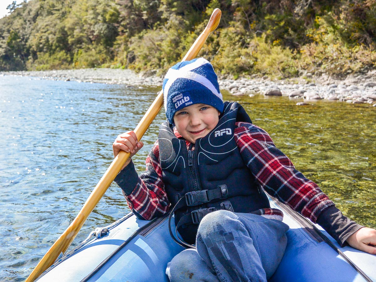 Child at the Pelorus river, New Zealand