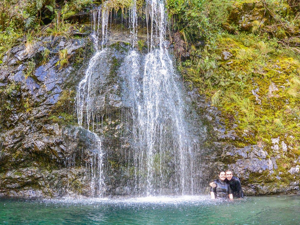 Couple at the Pelorus river falls, New Zealand