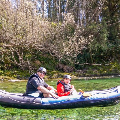 Dad and son at the Pelorus river, NZ