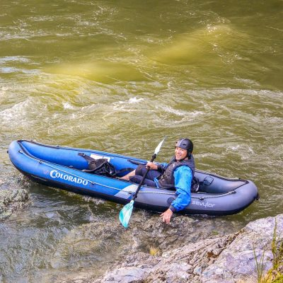 Happy kayaker at the Pelorus river, NZ