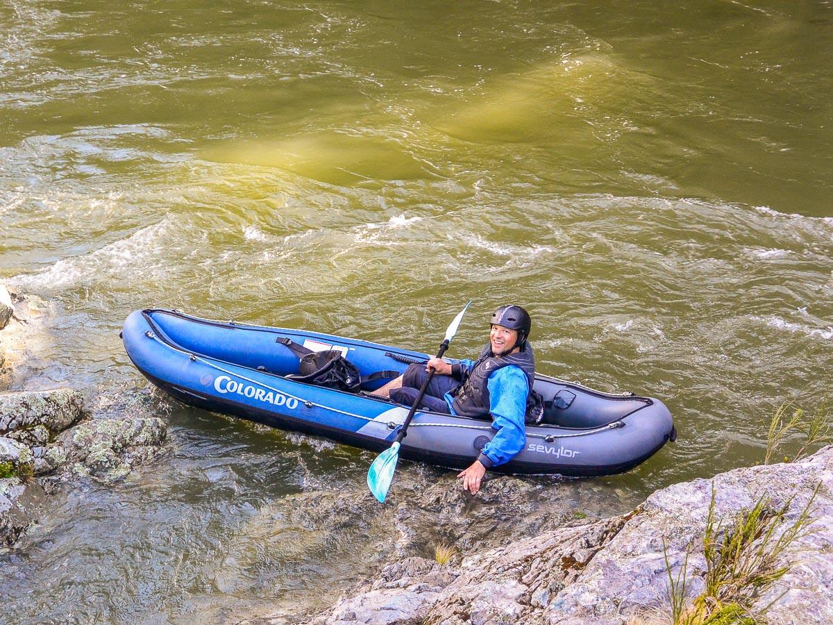 Happy kayaker at the Pelorus river, NZ