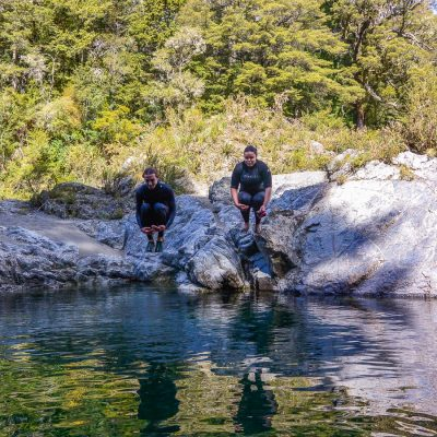 Jumping into the Pelorus river, New Zealand