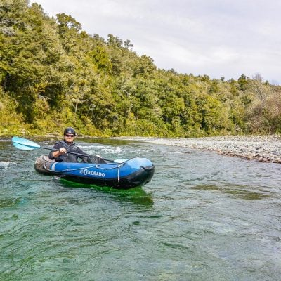Kayaker at the Pelorus river, Havelock Marlborough