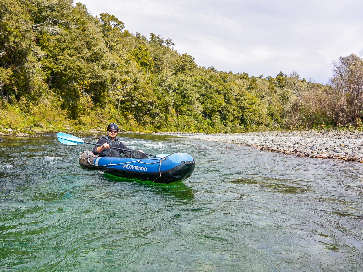 Kayaker at the Pelorus river, Havelock Marlborough